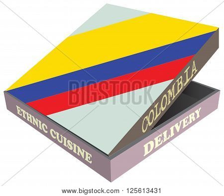 Delivery Ethnic cuisine Colombia. Cardboard packaging. Vector illustration.