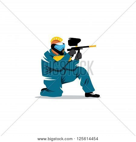 A man with a paintball gun in his hand and a protective mask on his head at the ready to fire.