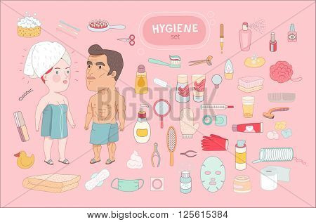 After shower, flat cartoon vector illustration, a standing man and a red hired woman both wrapped into the towels, surrounded by hygiene elements,on a pink background, a part of Dodo people collection