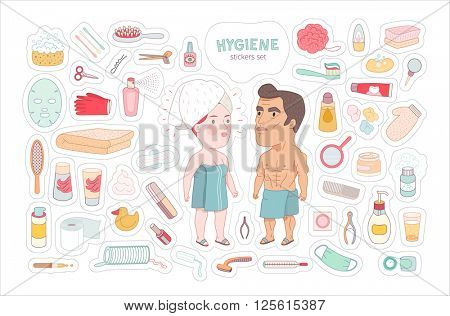 After shower, flat cartoon vector illustrated sticker set with cut edges, a man and a red hired woman wrapped into the towels, standing surrounded by hygiene elements, a part of Dodo people collection
