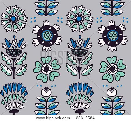 Awesome vector seamless patter of graphic leaves and flowers. Gray vector background. Bright illustration, can be used for creating card, invitation card for wedding, wallpaper and textile.