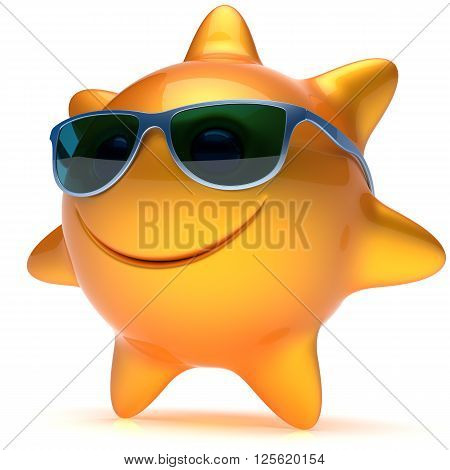 Smiley sun star face sunglasses cheerful summer smile cartoon ball emoticon happy sunny heat orange yellow person icon. Smiling laughing character holiday chilling sunbathing sunbeam avatar. 3D render