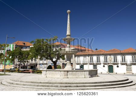 Stone carved water fountain in the heart of the Republic Aquare in Vila do Conde portugal
