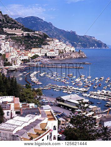AMALFI, ITALY - SEPTEMBER 22, 1996 - Elevated view of town and coastline Amalfi Amalfi Coast Campania Italy Europe, September 22, 1996.