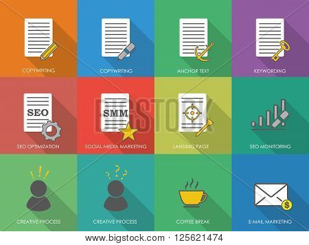 Icons of copywriting in flat style. SEO copywriting and SMM copywriting icons. Vector illustration