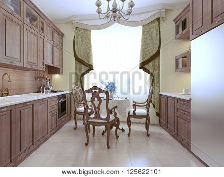 Kitchen art deco style, tiny interior. 3d render