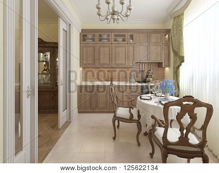 Classic kitchen interior with concrete flooring. 3d render