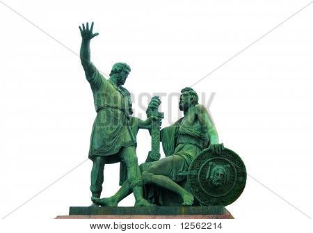 Minin and Pozharsky monument on Red Square in Moscow.Isolated on white poster