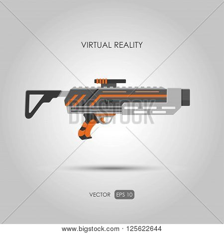 Missile. Gun for virtual reality system. Video game weapons. Video game guns. Vector illustration poster