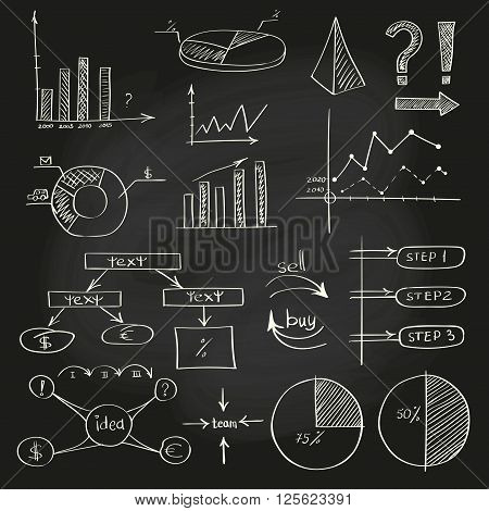 Business doodle sketch set: infographics elements isolated on white. Collection of icons: graphs, stats.Chalkboard effect. Vector illustrations.