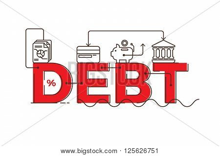 Debt Word Lettering Typography Design