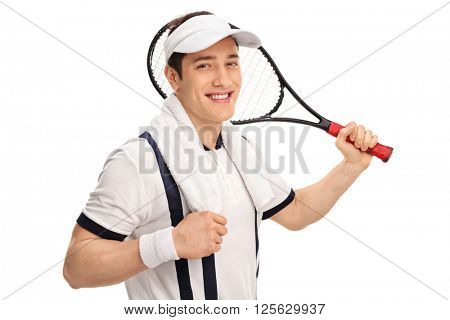 Cheerful tennis player in a white shirt holding a racket and looking at the camera isolated on white background
