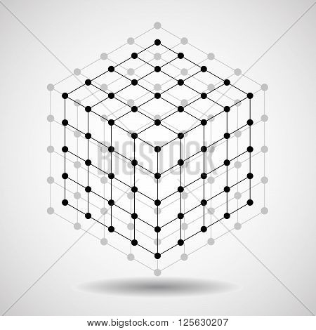 Cube of lines and dots, molecular lattice, geometric shape, network connection, vector illustration