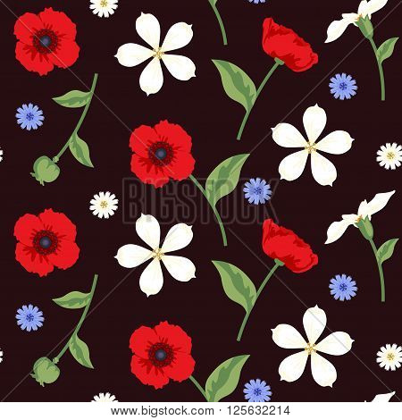 Floral Seamless Vector Pattern Design Multicolor