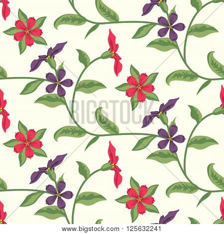 Floral Seamless Vector Pattern Design Purple Red