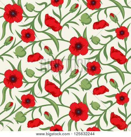 Floral Seamless Vector Pattern Design Red Poppy