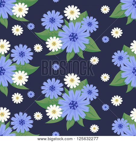 Floral Seamless Vector Pattern Design Wild Blue White