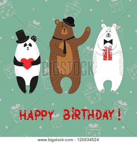 Cute bears - polar, brown, panda. Happy birthday card. Vector illustration.
