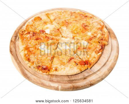 Delicious neapolitan pizza with mozzarella and ham on wooden platter. Isolated on a white background.
