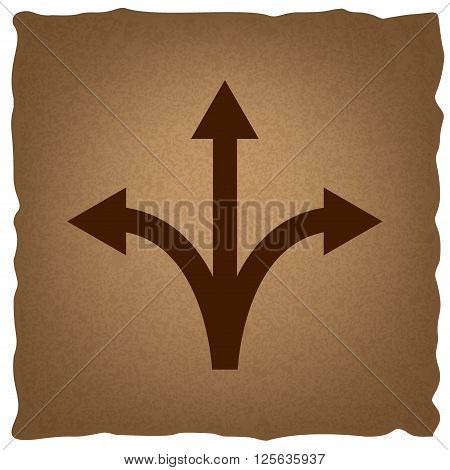 Three-way direction arrow sign. Coffee style on old paper.