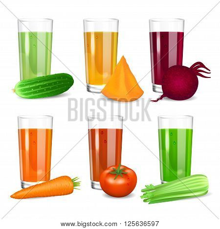 Set of Vegetable juices. Cucumber tomato carrot pumpkin beets and celery. Natural vegetable drink healthy organic food. Realistic vector illustration