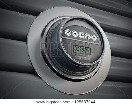 Electric meter with LCD panel hanging on the wall