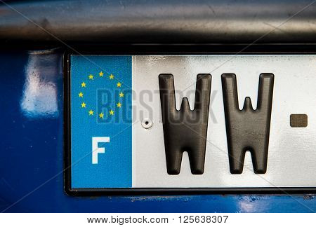 French car plate registration numbers beginning with WW