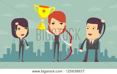 Vector illustration of business woman proudly standing , holding up winning trophy and bow. Flat style