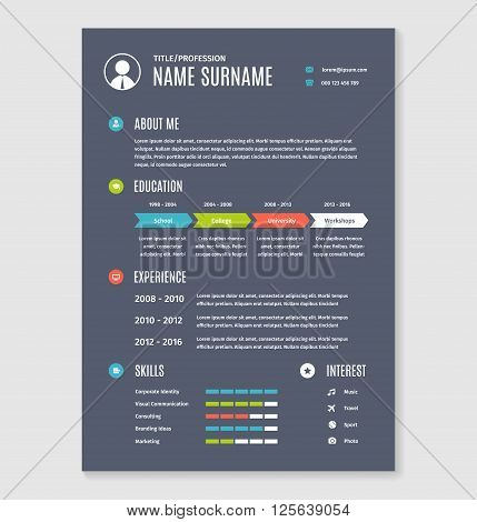 Vector resume cv a4 letter. Modern business template document.