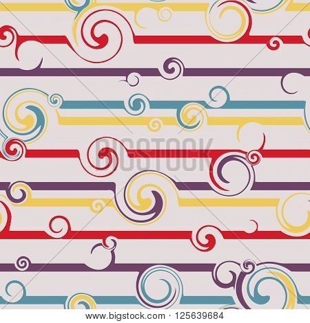 Seamless pattern with stylish spiral curls. Vector texture