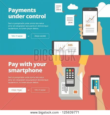 Online & mobile payment website banners and illustrations. One page web design collection 2.