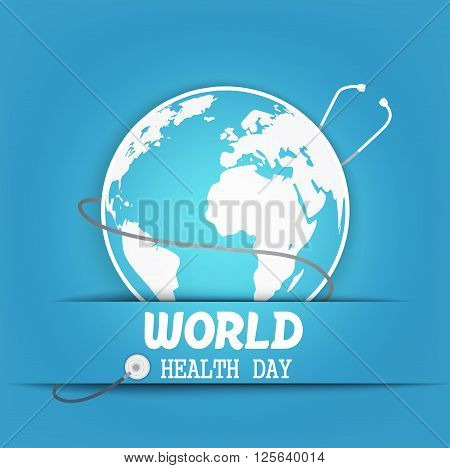 Illustration of World health day concept with globe and stethoscope on blue background