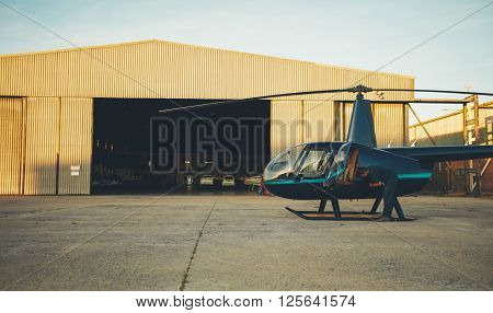 Helicopter Pilot Preparing For A Flight