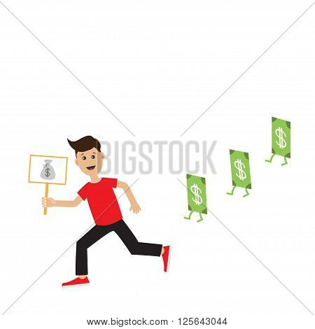 Funny cartoon running guy Boy character Businessman hand holding paper blank with money bag on the stick Money bill banknote with dollar sign. Flat design Isolated White background. Flat Vector