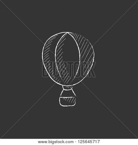 Hot air balloon. Drawn in chalk icon.