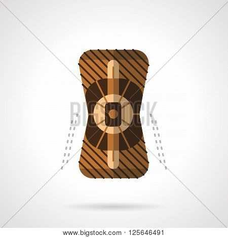 Brown knee pad for longboarding, skateboarding or roller skating. Sport accessories and outfit. Activity lifestyle. Flat color style vector icon. Web design element for site, mobile and business.