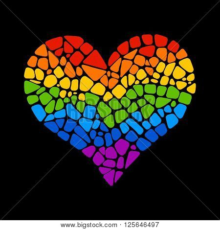 Mosaic rainbow heart on black background. Rainbow heart vector icon. Rainbow heart  LGBT logo. LGBT symbol. Gay culture sign. Gay pride design element. Isolated mosaic rainbow heart.