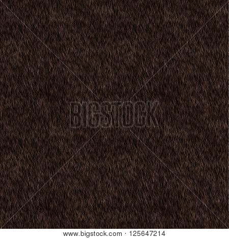 Vector Short Dark Brown Fur Background. Seamless Pattern for Print Design. Animal Skin. Digital Illustration.