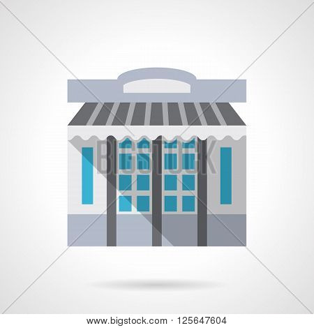 Storefronts and showcases theme. Stationery store facade with awning or shade. Commercial buildings. Flat color style vector icon. Web design element for site, mobile and business.