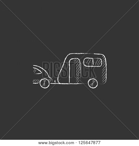 Car with caravan. Drawn in chalk icon.