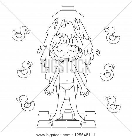 Boy takes a shower contour vector drawing. Healthy lifestyle background.