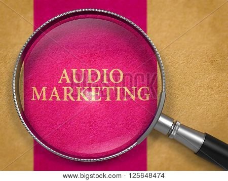 Audio Marketing through Magnifying Glass on Old Paper with Lilac Vertical Line Background. 3D Render.