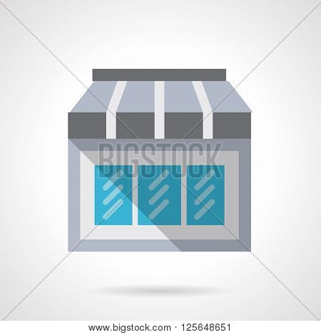 Storefronts and showcases. Glass vitrine with awning or shade. Facade of mobile store. Flat color style vector icon. Web design element for site, mobile and business.