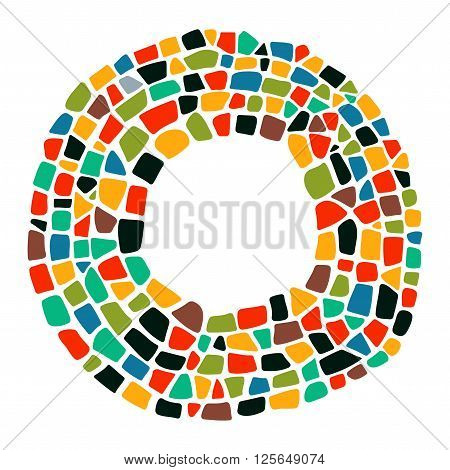 Mosaic colorful frame. Isolated mosaic frame. Mosaic creative texture. Mosaic design element for poster, greeting card, invitation. Bright mosaic background.