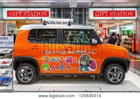 OSAKA JAPAN - NOVEMBER 22 2015: Suzuki Hustler - a compact SUV RJC (The Automotive Researchers' and Journalists' Conference of Japan) Car of the Year 2013 displayed at Shin Osaka station