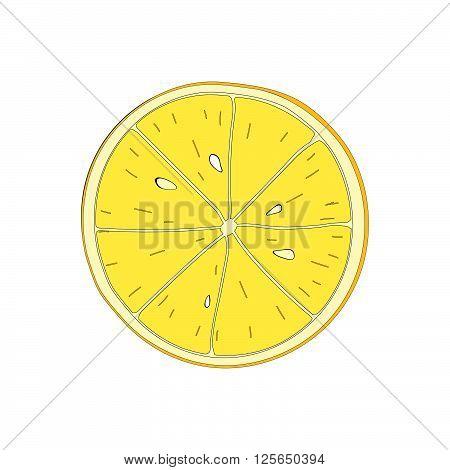 Lemon slice. Vector osilated symbol of fruit lemon.