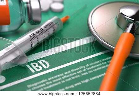 IBD - Medical Concept on Green Background with Blurred Text and Composition of Pills, Syringe and Stethoscope. 3D Render.