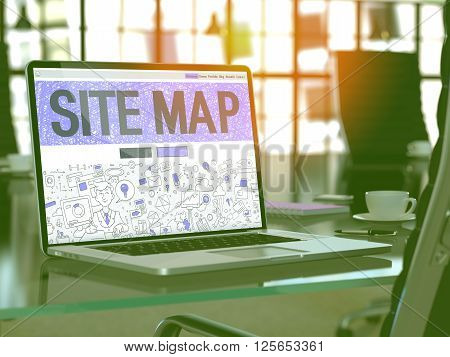 Site Map Concept Closeup on Landing Page of Laptop Screen in Modern Office Workplace. Toned Image with Selective Focus. 3D Render.