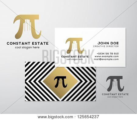 Constant Estate Abstract Vector Premium Business Card Template. Pi Sign with Negative Space Buildings as a Logo. Geometry Background and Gold Foil. Realistic Shadows Mock Up. Isolated.
