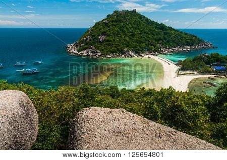 At the top of the view point at Nang yuan island poster